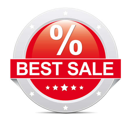 Red big percent best sale icon banner Vector