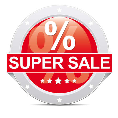 super sale red button with percent sign Vector