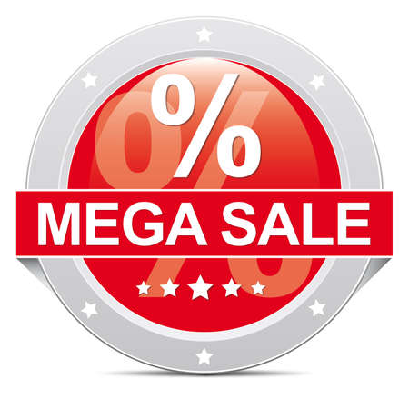 mega: Red Mega Sale Button Icon with Percent