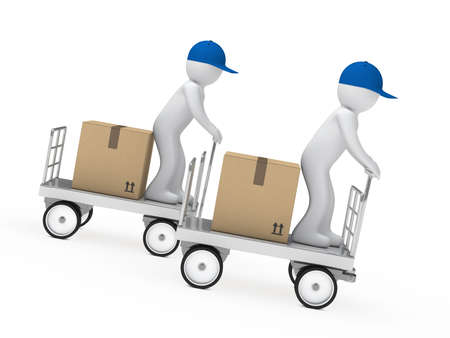 distribute: delivery figure drive a trolley fast down