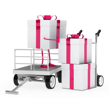 hand truck: pink white gift box onload a trolley Stock Photo