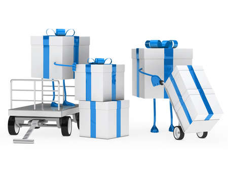 blue white gift box onload a trolley photo