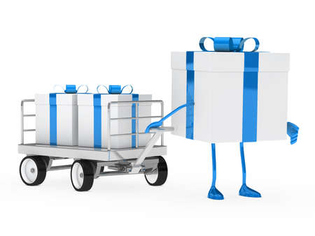 blue white gift box draws a trolley  photo