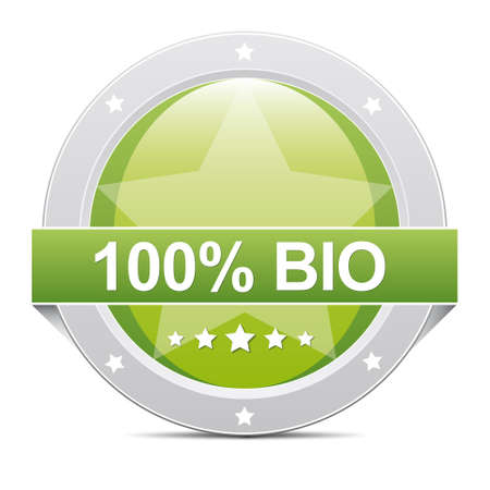 green glossy 100  bio star button icon photo