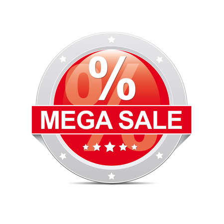 Red Mega Sale Button Icon with Percent photo
