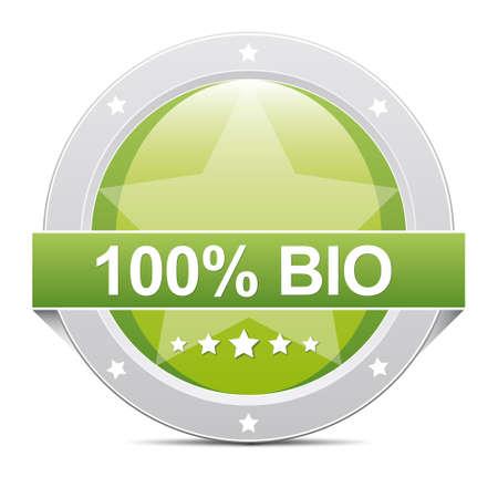 reachable: green glossy 100  bio star button icon Stock Photo