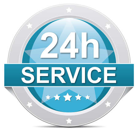 24 hour: blue 24 hours 7 days service button