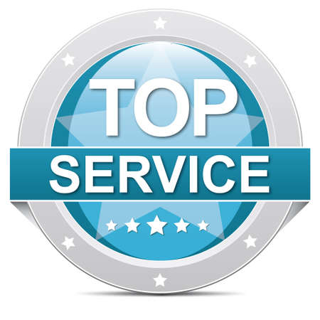quality service: blue top service banner button on white Stock Photo