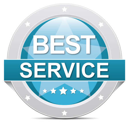 excellent customer service: blue best service button banner on white  Stock Photo