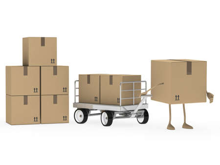 distribute: brown package figure draw a transport trolley