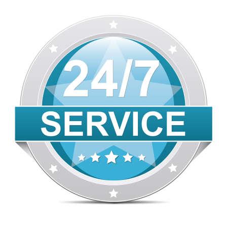 excellent customer service: blue 24 hours 7 days service button