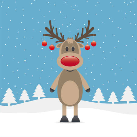 rudolph the red nosed reindeer: rudolph reindeer red nose snow christmas ball Stock Photo