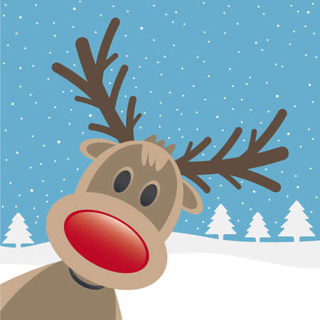 rudolph reindeer red nose looking from site photo
