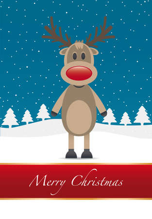 rudolph reindeer red nose merry christmas type photo