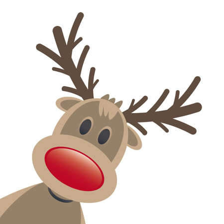 pinetree: rudolph reindeer red nose isolated white background Stock Photo