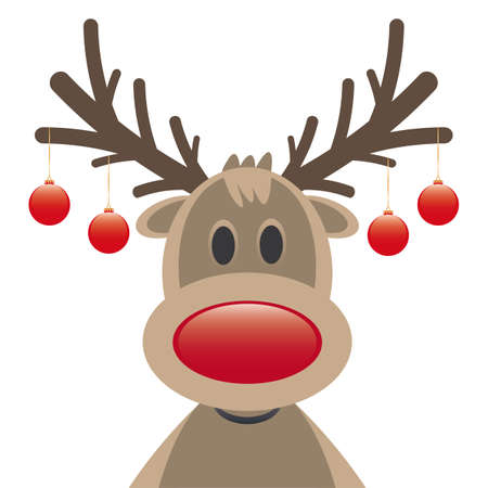 rudolph reindeer red nose and christmas balls Stock Photo