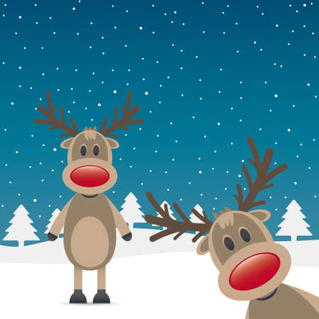rudolph the red nosed reindeer: two rudolph reindeer red nose snow falls