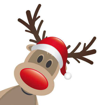 rudolph reindeer red nose santa claus hat Stock Photo - 15274653
