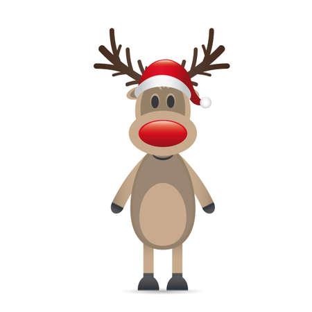 reindeer: rudolph renna naso rosso cappello di Babbo Natale Archivio Fotografico