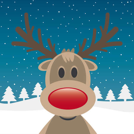 one rudolph reindeer red nose snow falls photo
