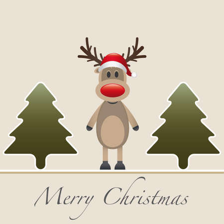rudolph reindeer red nose hat fir tree photo