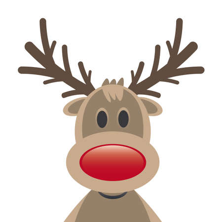 rudolph reindeer red nose on white background