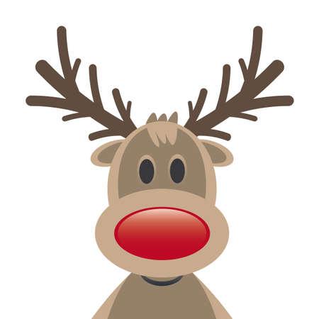 nariz roja: Rudolph reno nariz roja sobre fondo blanco