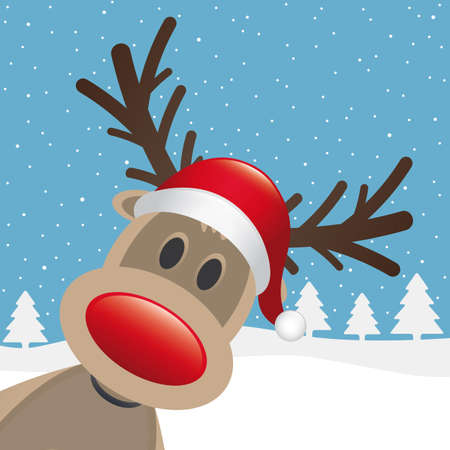 cartoon reindeer: rudolph reindeer red nose santa claus hat