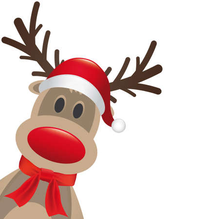 cartoon reindeer: rudolph reindeer red nose hat and scarf Stock Photo