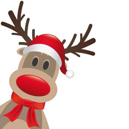 renos navide�os: rudolph sombrero reno nariz roja y una bufanda