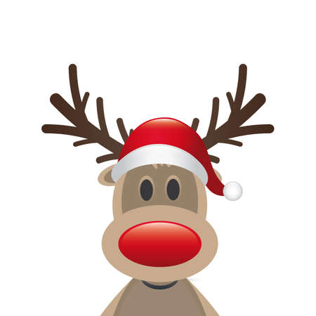 rudolph reindeer red nose santa claus hat photo