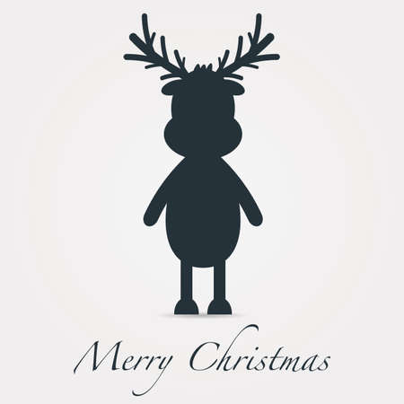 rudolph reindeer silhouette black merry christmas text