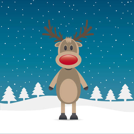 rudolph reindeer red nose snow falls night photo