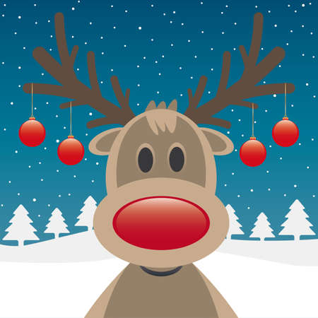 rudolph the red nose reindeer: rudolph reindeer red nose and christmas balls Stock Photo
