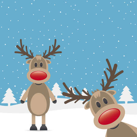 two rudolph reindeer red nose snow falls Stock Photo - 15274671