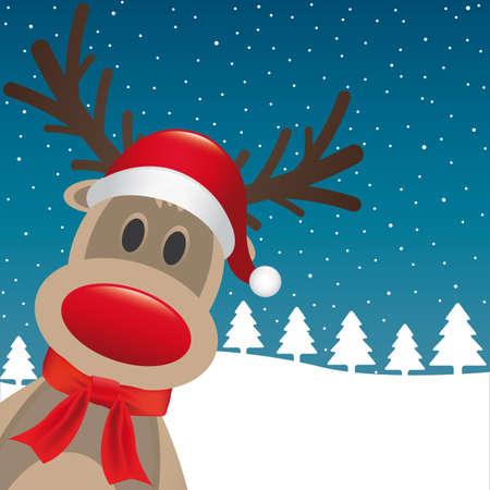 weihnachtsmann: rudolph reindeer rote Nase Weihnachtsmann-Hut