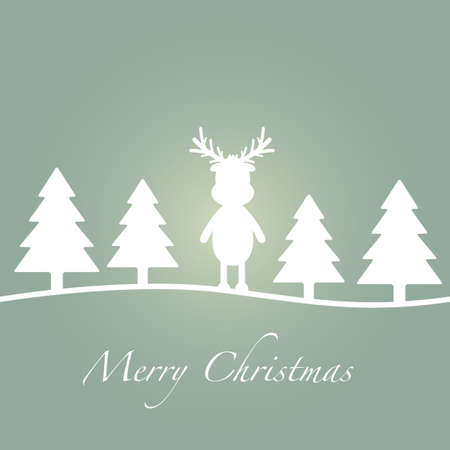 merry christmas green tree reindeer silhouette card photo
