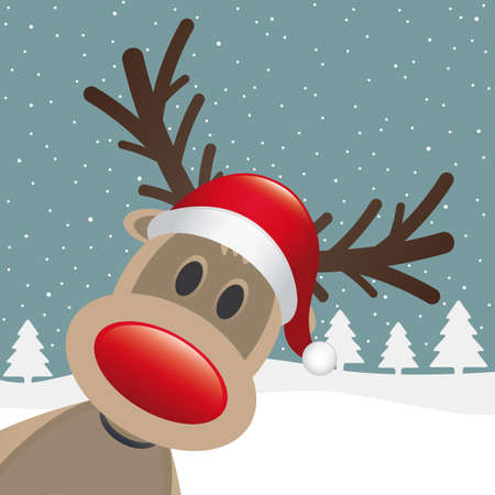 noses: rudolph reindeer red nose santa claus hat