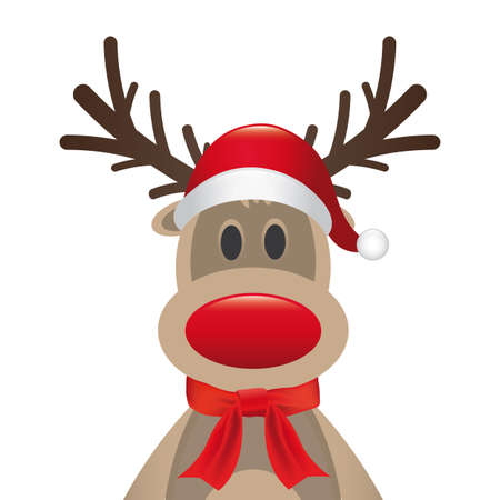 rudolph reindeer red nose santa hat scarf Stock Photo - 15321544