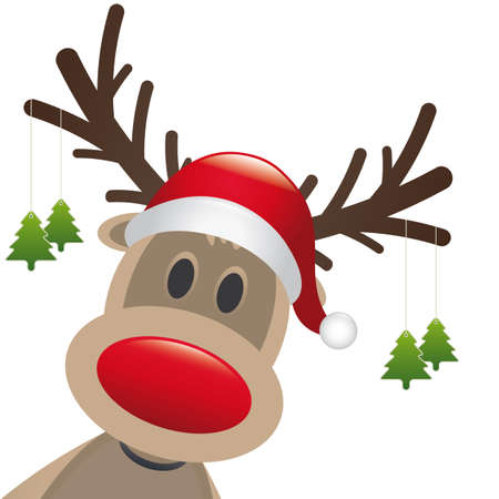 rudolph reindeer red nose hang christmas tree Stock Photo