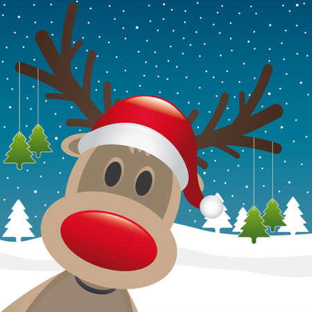 rudolph the red nose reindeer: rudolph reindeer red nose hang christmas tree Stock Photo