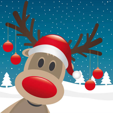 rudolph reindeer red nose hang christmas balls photo
