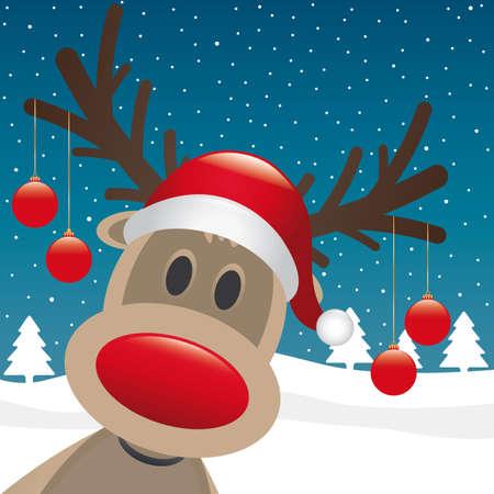 nariz roja: Rudolph reno nariz roja colgar bolas de navidad