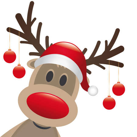 claus: rudolph reindeer red nose hang christmas balls