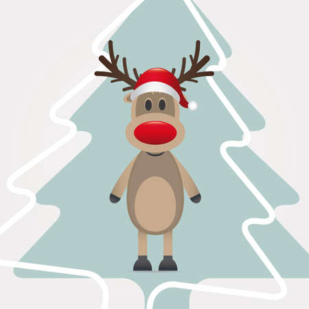 reindeer red nose santa claus hat pinetree photo