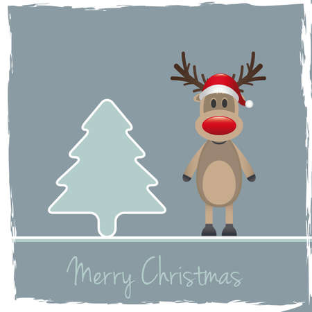christmas invitation: reindeer red nose santa claus hat pinetree