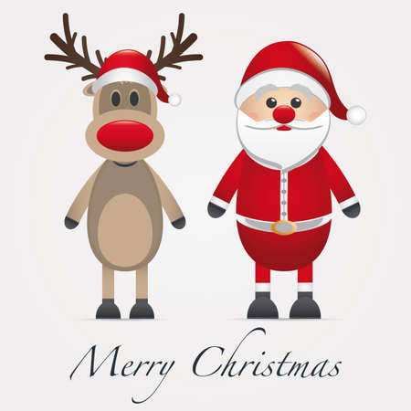 nariz roja: Rudolph reno nariz roja al lado de Pap� Noel Foto de archivo