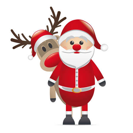 nariz roja: Rudolph reno nariz roja detrás de Papá Noel