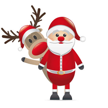 rudolph reindeer red nose behind santa claus photo