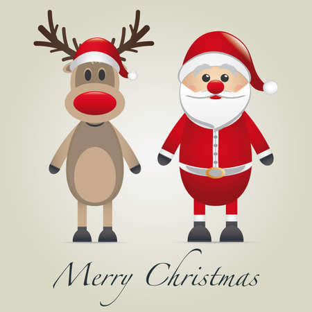 reindeer and santa claus merry christmas type photo